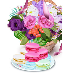 Realistic floral bouquet and macarons vector