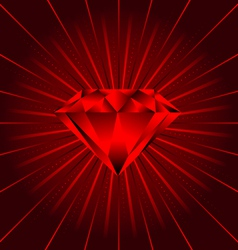 red ruby diamond beams vector image