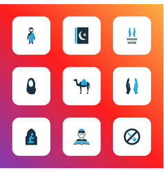 Religion icons colored set with dua no alcohol vector