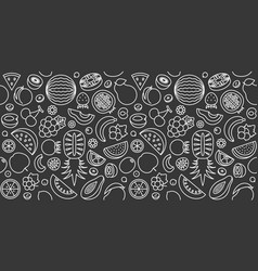 seamless pattern fruits in outline icon vector image