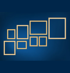 set decorative frame picture with gold border vector image
