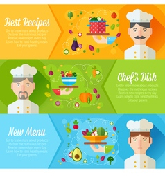 Set of concept banners with flat cook vector
