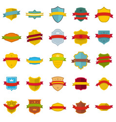 shield badge icons set flat style vector image