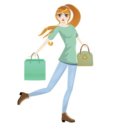 Shopping Girl with Bags6 vector