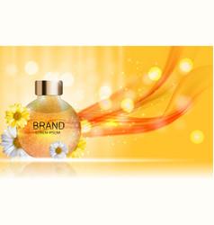 Shower gel cream bottle with flowers chamomile vector