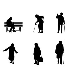 Silhouettes of older people vector