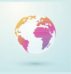 simple striped color world globe vector image