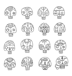 Skulls outlines set vector image