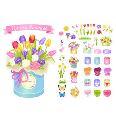 Spring bouquet poster set vector