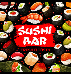 Sushi bar poster with japanese cuisine of seafood vector