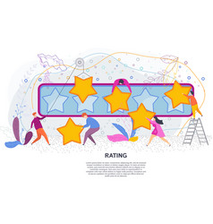 tiny people with gold stars rating on white vector image