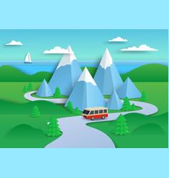 Traveling camper van going down mountain road vector
