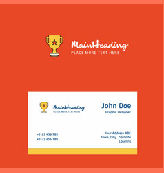 trophy logo design with business card template vector image