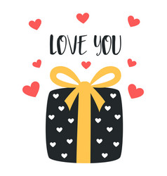 valentines card with cute present vector image