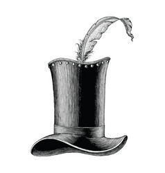 vintage fashion hat hand drawn engraving vector image