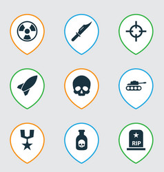 warfare icons set with poison medal rocket and vector image