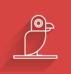 White line pirate parrot icon isolated with long vector