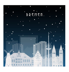 Winter night in bremen night city in flat style vector