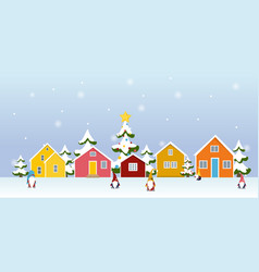 Winter town village landscape with gnome cartoon vector