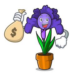 with money bag iris flower character cartoon vector image