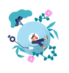 Woman listening to music in nature cd icon vector