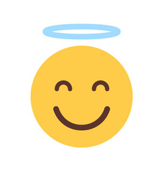 Yellow smiling cartoon face cute angel emoji vector