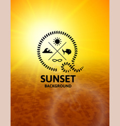 yellow sunset with brown water sea surface vector image