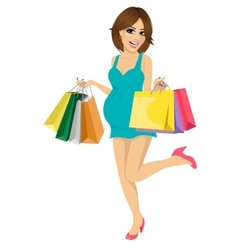 Young pregnant woman having fun with shopping bags vector image