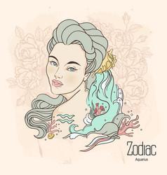 Zodiac aquarius as girl vector