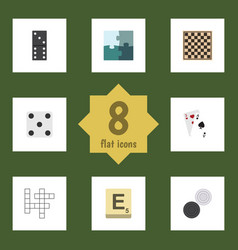 flat icon entertainment set of bones game ace vector image