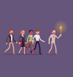 man with a torch leading a group of people vector image vector image