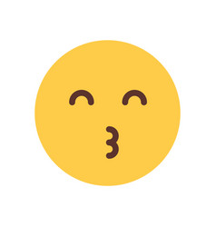 yellow smiling cartoon face blow kiss emoji people vector image