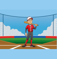 Baseball player pose on the pitch vector