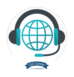 call center globe connection headphones vector image