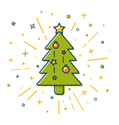 colored christmas tree icon in thin line style vector image vector image