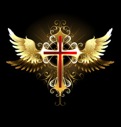 Cross with Golden Wings vector image vector image