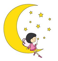 Fairy sitting on the moon vector