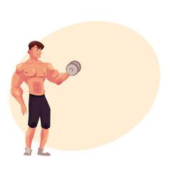 man bodybuilder weightlifter doing bicep workout vector image vector image