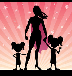 super mom 2 daughters vector image vector image