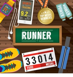 Top View Runner Gears On Wooden Plank vector image