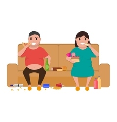 Cartoon fat man woman sitting on couch eat food vector image