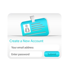 Create a new account form with light blue ID card vector image vector image