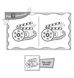 find 9 differences game cinema vector image vector image