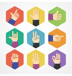 flat Hands Icons Set vector image