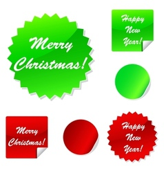 Set of sticky web icons in red and green for your vector image vector image