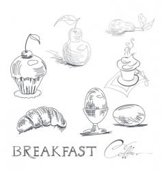 breakfast sketch vector image vector image