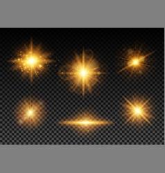 golden lights set vector image vector image