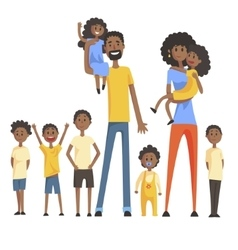 Happy Black Family With Many Children Portrait vector image