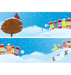 Set of horizontal banners with small fairy town vector image