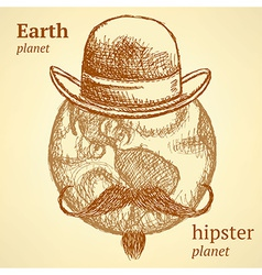 Sketch Earth planet in hipster style vector image vector image